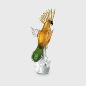 Amber and Green Parrot with open wings